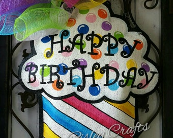 Happy Birthday Cupcake Burlap Door Hanger Decoration and Wreath Replacement