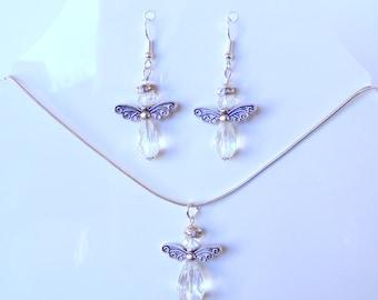 Crystal Angel Earrings and Pendant Set
