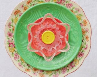 """Glass Garden Art, Glass Plate Flowers, Sun Catcher, Outdoor Decor, Garden Ornament, Glass Flowers, Repurposed, """"Joy"""" (2-031930)"""