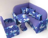 12 inch doll furniture, Doll Living Room Set, Upholstered Doll Furniture, Corner Doll Sofa
