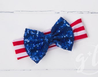 Fourth of July Sequin Headband. 4th of July Headband, Red White and Blue Headband, toddler headband, Sequin bow headband