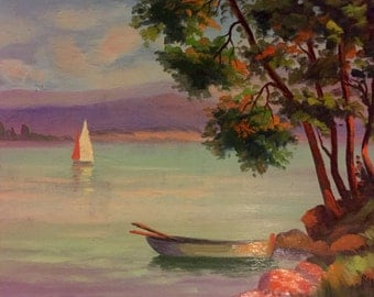 Lake view with sailboat in France (vintage oil painting)