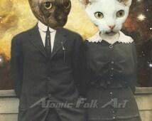 American Cat-Gothic - Surreal Art - Sci-Fi Collage - Unique, Unusual, Weird Decor, Wall Art, Cats, Cat Lover, Antique Photo, Anthropomorphic