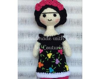 BEAUTIFUL doll FRIDA Kahlo handwoven. Amigurumi. Crochet Doll.