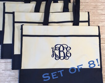 Set of 8- Monogrammed Tote Bags- Bridesmaids Gifts- Bridal Party Gift Bags- Canvas Tote Bag- Personalized Gifts