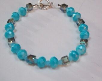 Beaded bracelet,one of a kind w/ crystal,Aqua