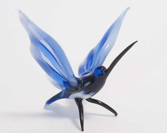 Hand-Blown Art Glass Hummingbird Figurine