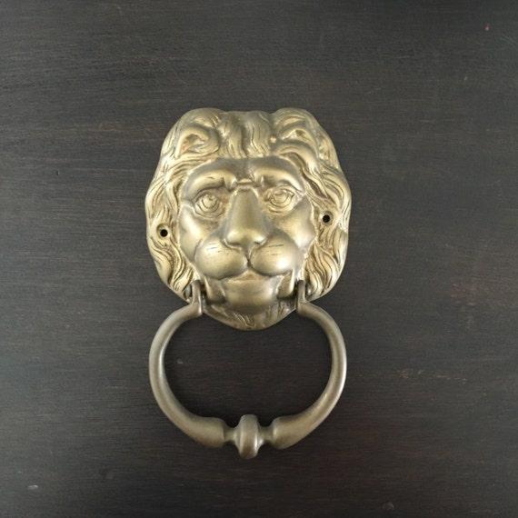Sale brass door knocker vintage lion head door accessory - Lion head brass door knocker ...