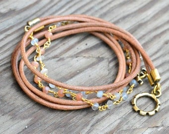 Boho Leather Wrap Bracelet, Boho Beaded Wrap Bracelet, Boho Chic Leather Bracelet Boho Brown Leather Wrap Bracelet Beaded Boho Wrap Bracelet