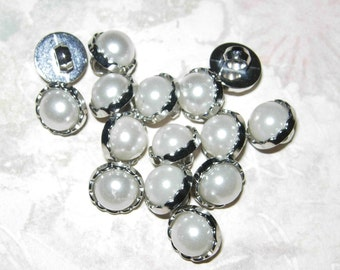 """Set Of 15 Small Plastic Silver And Pearl Shank Buttons, 3/8"""""""