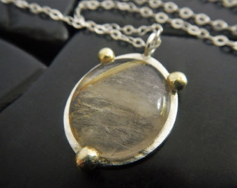 Rutilated Quartz and 14K Gold Pendant - Ready to Ship - Two-Tone Pendant - Gold and Silver Necklace - Quartz Necklace - Oval Stone Pendant