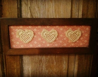 Valentines Heart wall hanging Rustic Valentines day Cottage chic Primitive Me and the Girls FAAPLOVE