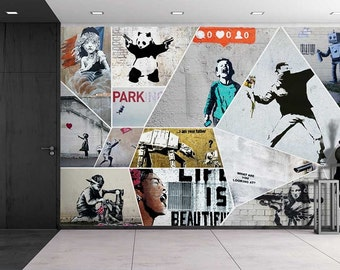 banksy art series collage removable wall mural creative wall decal 100x144 - Wall Graphic Designs