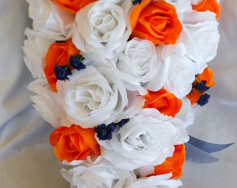 White and orange with navy blue accents cascade wedding set  2 pc