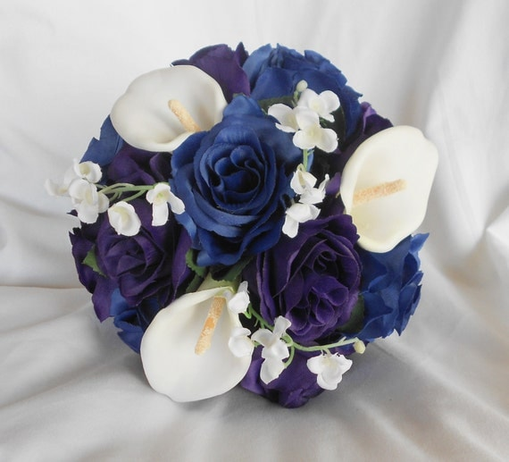 Bride bouquet royal purple and royal blue  2 pieces