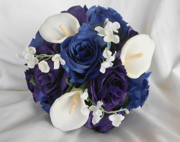Bride bouquet royal purple and royal blue  2 pieces