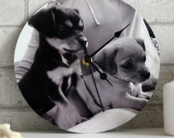 Custom Pet Photograph Wall Clock, Black and White Monochrome Clock