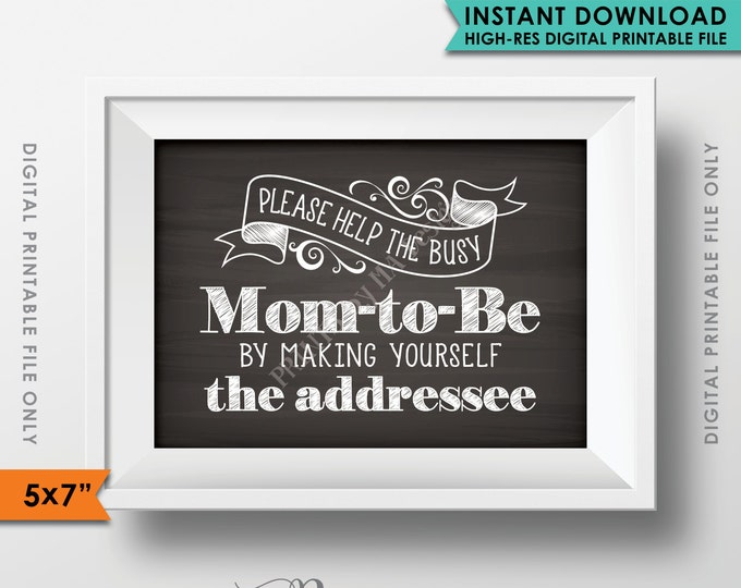 "Baby Shower Address Envelope Sign, Help the Mom-to-Be Address an envelope Shower Decoration 5x7"" Chalkboard Style Printable Instant Download"