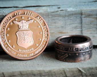 Handcrafted United States Air Force 1oz .999 Copper Coin Ring. Hand Forged Pride, Statement, Military, Vet, Patriot Ring