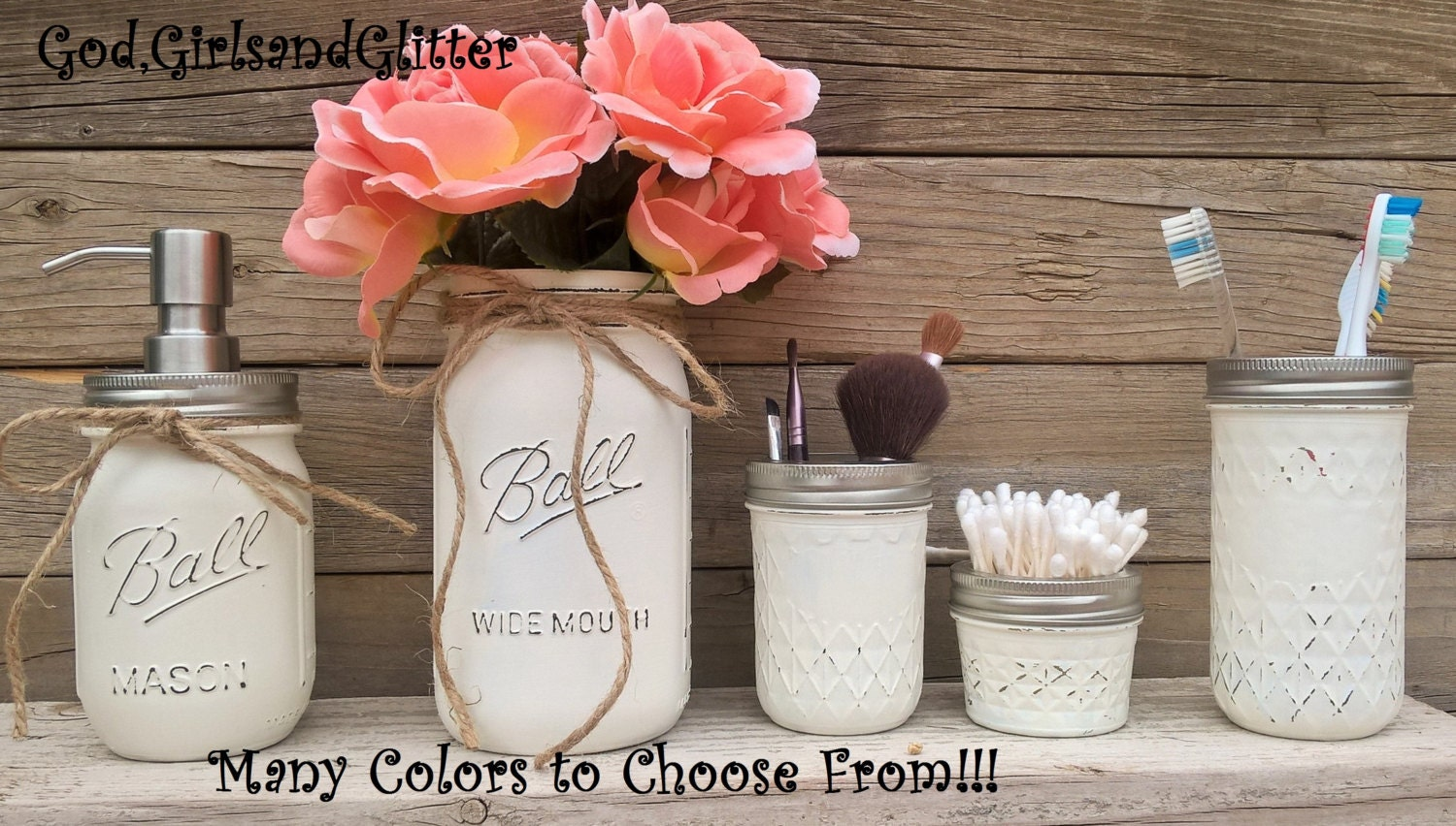 Rustic beach themed bathroom - Country Bathroom Decor Mason Jar Bathroom Set Rustic Bathroom Decor Country Chic Bathroom Decor Beach Bathroom Decor Housewarming Rustic