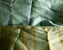 Reversible blues and golds striped fabricwith sheen, 2.5 m, furnishing fabric, decorator fabric, cushion fabric, curtain fabric, long stripe