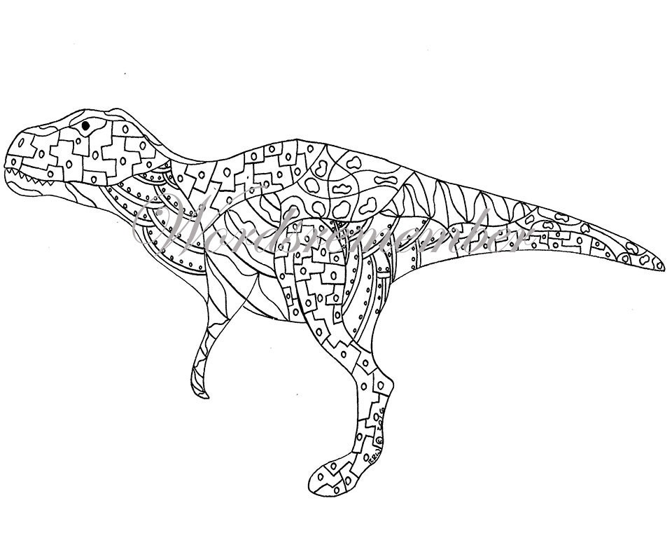 Trex Coloring Page Digital Download Kids Coloring Page