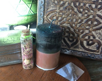 FAE - Candle 2x3 . Ambrosia . For Faerie Magick, Sight, Nature Spirit Workings