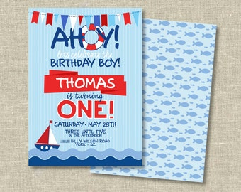 Birthday Party Digital Download | Ahoy | Nautical Birthday