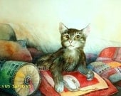 Giclee 8x10in, А5, А4, Watercolor PRINT,  cat and the mouse ,  Art Print