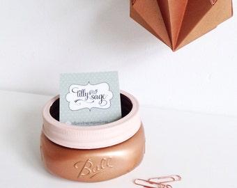 Ball mason jar copper business card holder