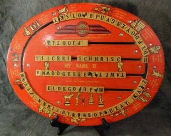 1940 Cressco Educational Board - Reversible - No. 100, Master Spelling and Number Board,  Movable Tiles