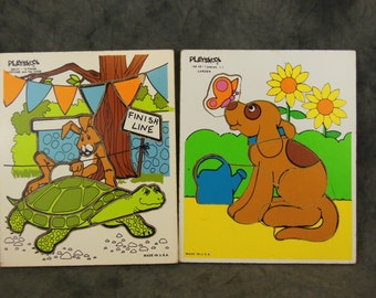 Two Playskool Jigsaw Puzzles a Dog In a Garden and Tortise and Hare Race