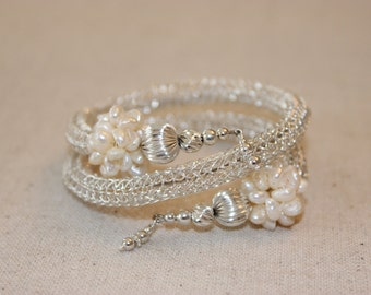Handmade Sterling Silver Woven Lace Bracelet with Fresh Water Pearl Clusters and Silver Beads