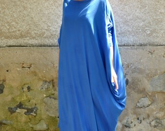 Maxi caftan/Royal blue tunic/Oversize caftan/Maxi blue dress/Plus size casual dress/Long sleeves party caftan/Asymmetrical Tunic/D1483