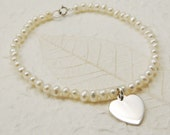 Seed Pearl Bracelet with Flat Silver Heart Charm  Wedding Anniversary Birthday Bridesmaid Gift