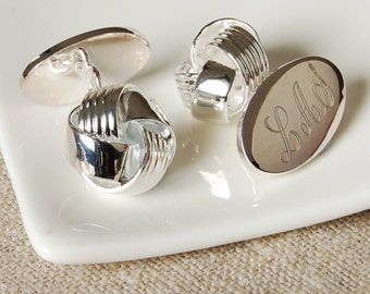 Personalised Classic Knot Cufflinks ~ Engraved Wedding, Anniversary, Birthday, Father's Day, Gift