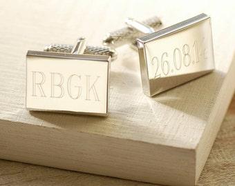 Engraved Rectangular Cufflinks ~ Personalised Wedding, Groomsman, Anniversary, Birthday Father's Day, Gift