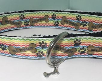 """Got Treats Dog Collar - 1"""" wide large dog collar - dog collar with charm"""