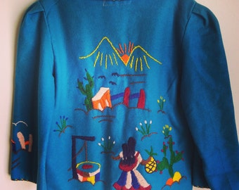 Vintage children's embroidered Mexican tourist jacket.