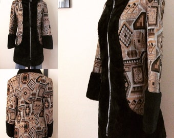 Beautifully made 1960s tapestry jacket with faux fur trim.