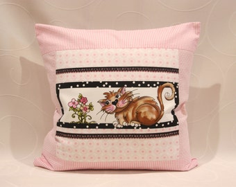 1 piece Cushion cover with cat motif - Loralie design
