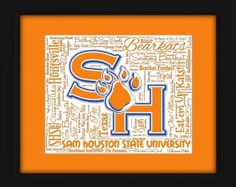 Sam Houston State University (SHSU) 16x20 Art Piece - Beautifully matted and framed behind glass