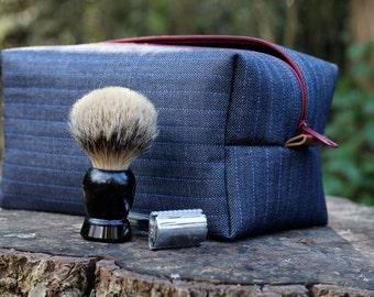 Men's Dopp Kit, Shave Kit - Heavy Denim, Vinyl Lined with Leather tabs