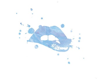 Lips in light blue water colour, A4 instant digital download