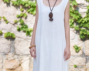 Womens Loose Fitting Sleeveless Cotton And Linen Jumper Dress, Linen Dress, Cotton Dress, Womens Dresses, Casual Dress, White Dress