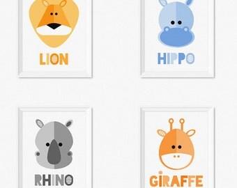 Safari Animals Nursery Prints, Kids Art Prints, Digital Nursery Art, Baby Art Prints, Nursery Animal Prints, Printable Kids Art, Nursery Set