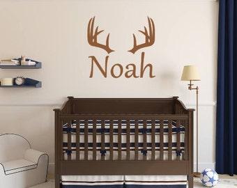 Personalized, Deer, Antler, Rack, Hunting, Boy, Girl, Name, Vinyl, Wall, Decal, Bedroom, Nursery,