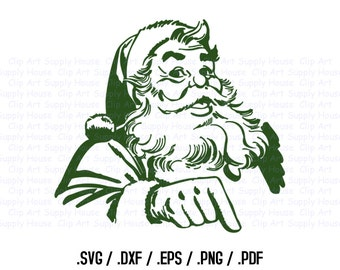 Santa Claus Clipart, Winter Christmas Wall Art, Santa SVG File for Vinyl Cutters, Screen Printing, Silhouette, Die Cut Machines - CA325