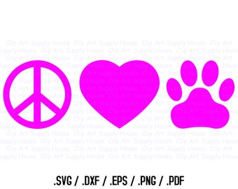 Peace Love Paw SVG Clipart, SVG Office Wall Art, Pet SVG File for Vinyl Cutters, Screen Printing, Silhouette, Die Cut Machines - CA102
