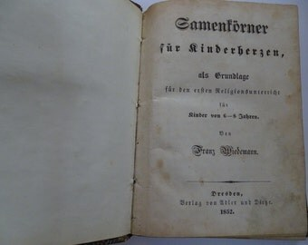 Antique book of prayers for children in German - 1852